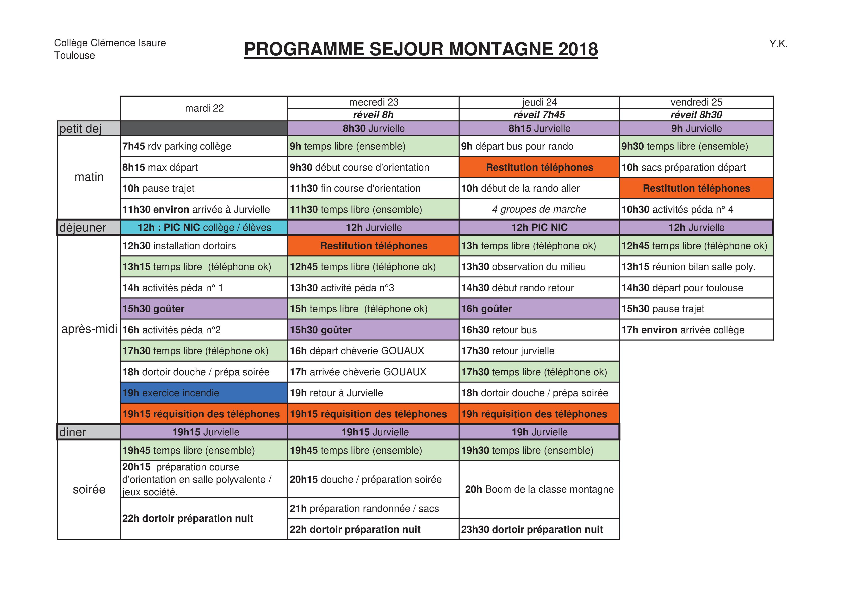 Programme séjour montagne 2018 - Le collège - Clémence Isaure de ...